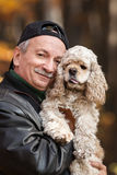 Old man with dog Royalty Free Stock Photography
