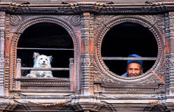 Old Man & Dog, Bhaktapur, Nepal Royalty Free Stock Images