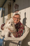 Old Man with Dog Royalty Free Stock Images
