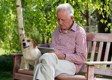Old man with dog and tablet in garden. Old man with dog sitting on bench in garden and looking at tablet stock images
