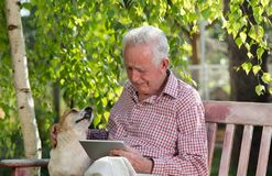 Old man with dog and tablet crying in garden. Sad senior man with his dog sitting on bench in garden, looking at tablet and crying royalty free stock photo