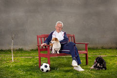 Old man with dogs Stock Photo