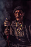 Old man in Dolpo in Nepal Royalty Free Stock Photos