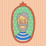 Old man doodle vector portrait Stock Images