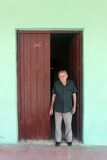 Old Man by the Door at Cuba royalty free stock images