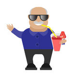Old man drinking a cocktail Stock Photos