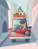 Old man drive a car. Old man drive a red car. Vector illustration Stock Photos