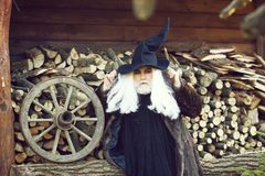 Old man druid and woodpile. Old man druid with long silver hair and beard in fur coat black Halloween hat on woodpile background royalty free stock photo
