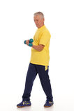Old man with dumb bells on white Stock Images