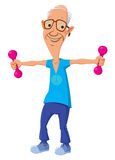 Old man with dumbbells Stock Photo