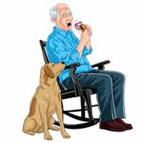 Old Man Eating Burger. Old Man Sitting On A Rocking Chair Eating Burger With His Dog Stock Photography