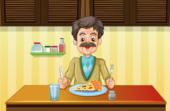 Old man eating in the dining room stock illustration