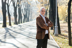 Old man elegant dressed  standing outside Stock Photography