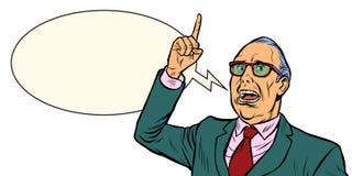 Old man emotional speaker. Isolate on white background. Pop art retro vector illustration stock illustration