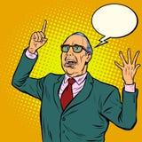 Old man emotional speaker. Pop art retro vector illustration vector illustration