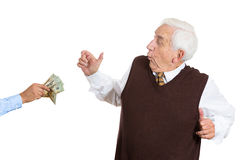 Old man excitrd seeing money Stock Photography