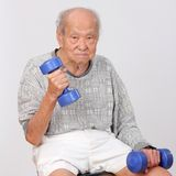 Old man  exercise hold dumbbell Stock Photography
