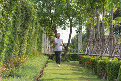 Old man exercise by jogging at the park, health concept Stock Images