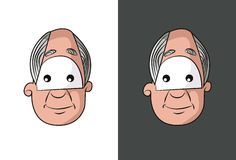 Old man face with gray hair face. Royalty Free Stock Image