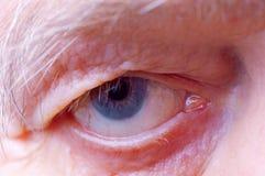 Old man eye. Old man face part closeup eye looks at camera Royalty Free Stock Image