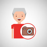 Old man fathers day gift camera Stock Photo