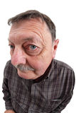 Old man fisheye portrait Stock Image