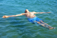 Old Man Float Sea Relax Royalty Free Stock Image