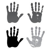 Old man four hand prints. Vector illustration old man four hand prints isolated on white background Stock Photos