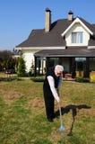Old man on garden stock image