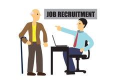 Old man gets rejected on his job interview. Concept of discrimination or prejudice or unfairness. Flat isolated vector illustration vector illustration