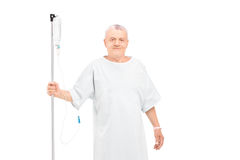 An old man getting i.v. infusion Royalty Free Stock Photo