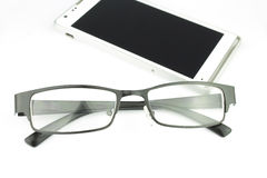 Old man glasses with smart phone Royalty Free Stock Photos