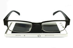 Old man glasses with smart phone royalty free stock images