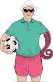 Old man Goalkeeper Vector Illustration Stock Images