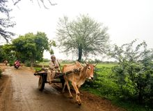 Rural village scene of India stock images