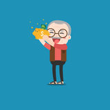 Old man with golden piggy bank. Old man with golden piggy bank, Pension Stock Photos