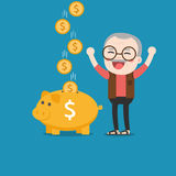 Old man with golden piggy bank. Old man with golden piggy bank, Pension Stock Photo