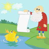 Old man and a goldfish. Old man shows to a goldfish the list of desires Stock Photo