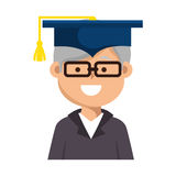 Old man graduate character Stock Images