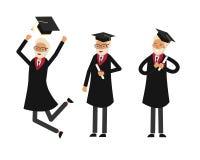 Old man graduate stock illustration