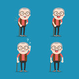 Old man. Grandpa in 4 Different Poses. Vector isolated illustration. Cartoon character royalty free illustration