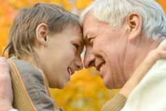 Old man with grandson. Royalty Free Stock Image