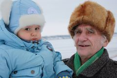 Old man with a great-grandson. Stock Photography