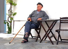 Old man in Greek village Stock Photography