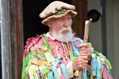 Old Man with grey beard in May Day re-enactment Royalty Free Stock Images