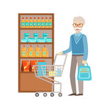 Old Man Grocery Shopping, Shopping Mall And Department Store Section Illustration Royalty Free Stock Image