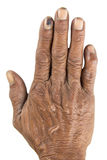 Old man hand Stock Images