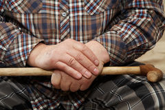 Old man hands with cane Royalty Free Stock Photography