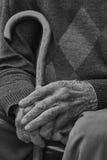 Old man hands, monochrome Stock Photos