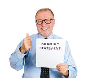 Old man happy with wise monthly expenditure Stock Image